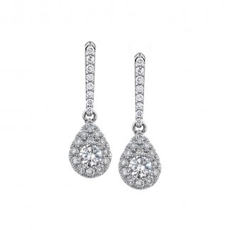 0.54ct Diamond Cluster Drop Earrings in 9ct White Gold