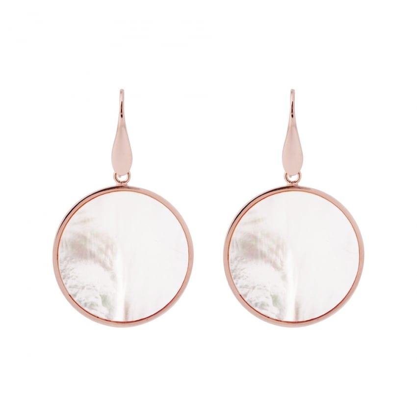 Bronzallure 18ct Rose Plated and Mother of Pearl Disc Drop Earrings WSBZ00709.W