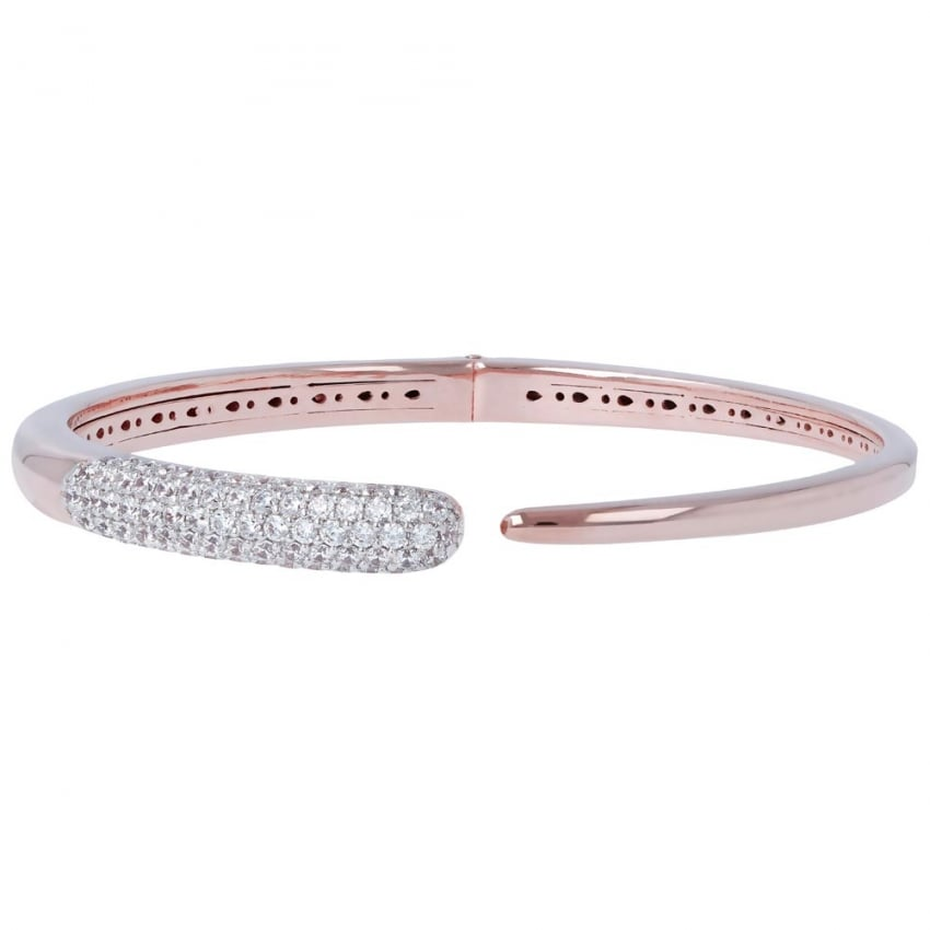 Bronzallure 18ct Rose Plated and Stone Set Bangle WSBZ00785.WR