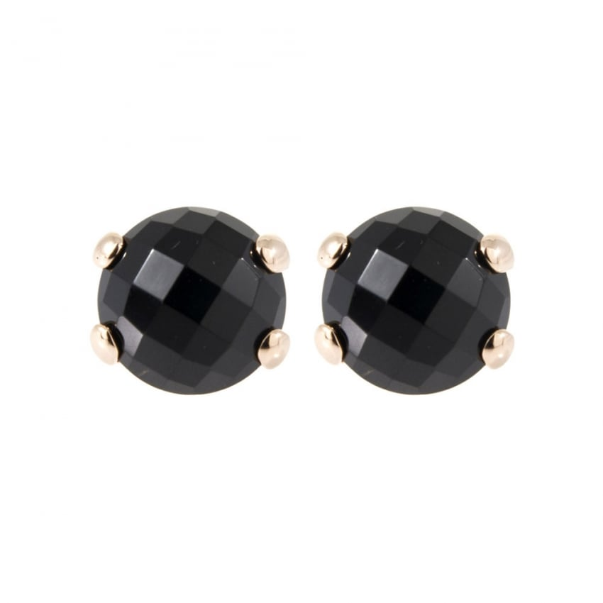 Bronzallure 18ct Rose Plated Black Onyx Studs WSBZ00279.B