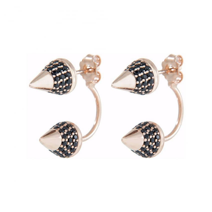 Bronzallure 18ct Rose Plated Black Stone Double Earrings WSBZ00533.BR