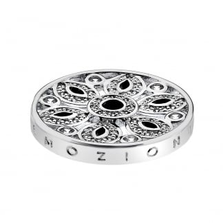 25mm Silver Girasole Coin with Black Stones