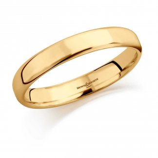 3.5mm Softened Flat Court Wedding Ring In 9ct Yellow Gold
