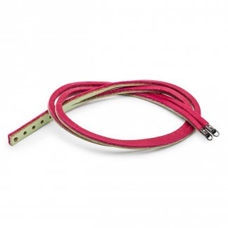 34cm Leather Bracelet - Cherry/Sage