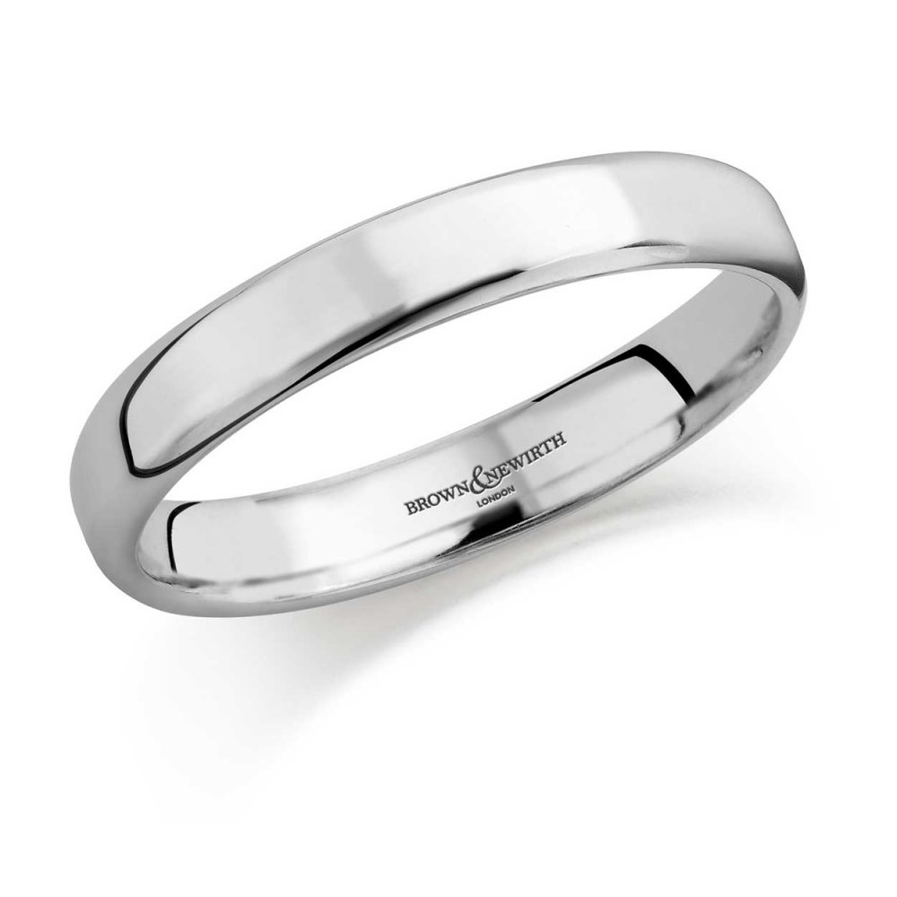 Brown Newirth 3mm Softened Flat Court Wedding Ring In Platinum
