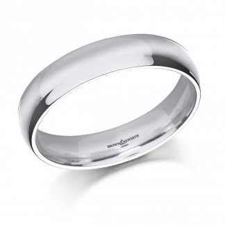 5mm Medium Court Men's 18ct White Gold Wedding Ring AN5-18WG