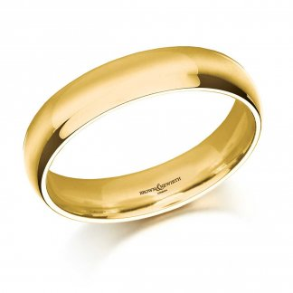 5mm Medium Court Men's 18ct Yellow Gold Wedding Ring