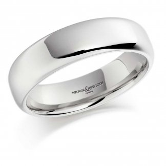 5mm Softened Flat Court Wedding Ring In Palladium 500