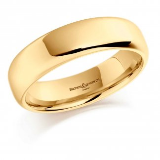 6mm Softened Flat Court Wedding Ring In 18ct Yellow Gold