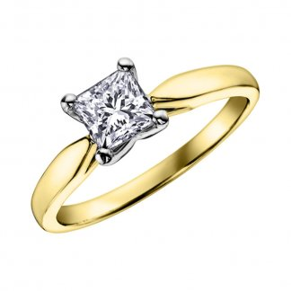 9ct Gold Princess Cut Diamond 0.25ct Solitaire Ring