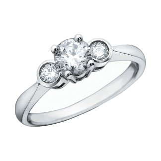 9ct White 0.60ct 3 Diamond Raised Centre Ring