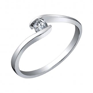 9ct White Gold 0.05ct Diamond Twist Solitaire Ring