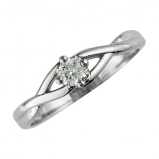 9ct White Gold 0.08ct Single Diamond Twist Ring 0101074