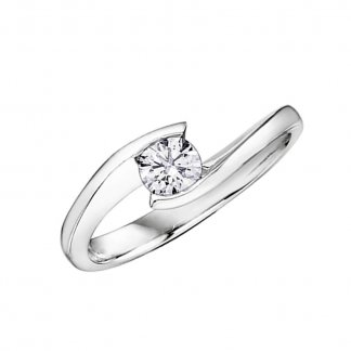 9ct White Gold 0.10ct Diamond Solitaire Ring 101076