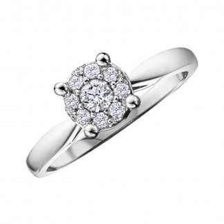 9ct White Gold 0.13ct Illusion Set Diamond Cluster Ring 102060