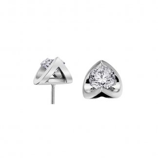 9ct White Gold 0.18ct Diamond Cluster Studs