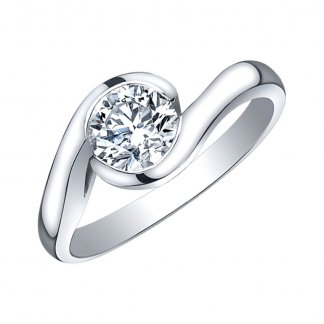 9ct White Gold 0.30ct Diamond Solitaire Twist Ring