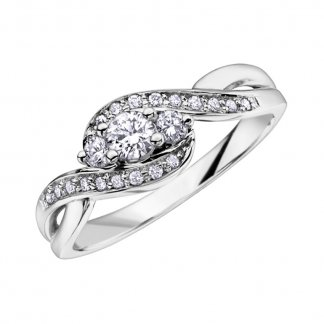 9ct White Gold 0.33ct Diamond Set Twist Ring