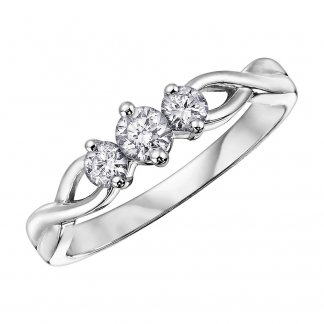 9ct White Gold 0.33ct Triple Diamond Twist Ring