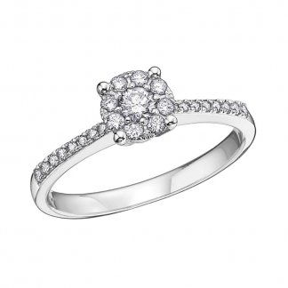 9ct White Gold 0.36ct Diamond Cluster Ring