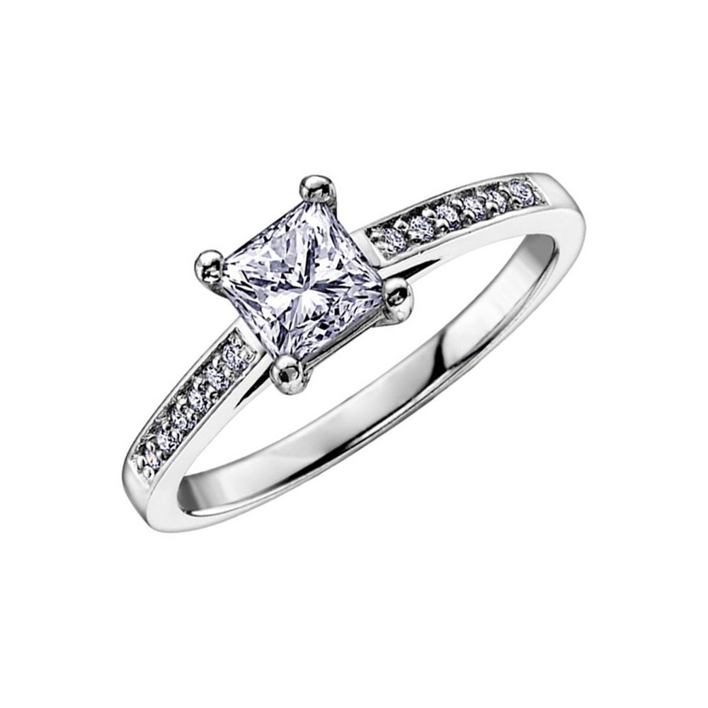 princess size diamond jewelry engagement rings silver cz bling sterling cut set ring wedding