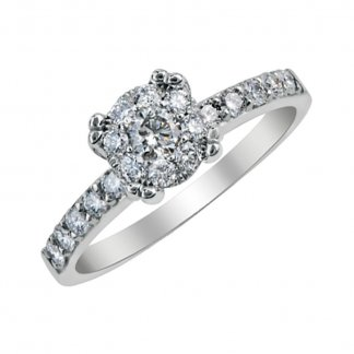 9ct White Gold 0.40ct Cluster Ring with Diamond Set Shoulders