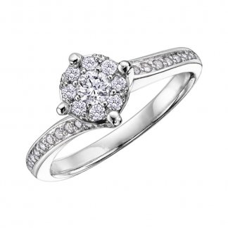 9ct White Gold 0.41ct Cluster Ring with Diamond Set Shoulders