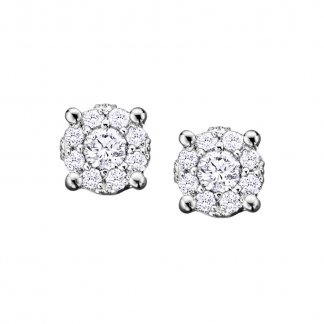 9ct White Gold 0.70ct Diamond Cluster Studs 303751