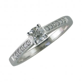 9ct White Gold 4 Claw Solitaire 0.25ct Diamond Ring