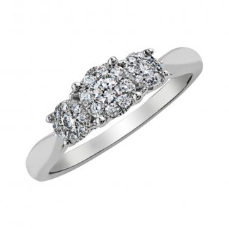 9ct White Gold Diamond 3 Stone Cluster Ring