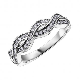 Fancy Styled 9ct White Gold Diamond Eternity Ring