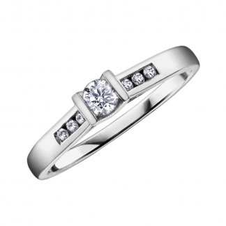 9ct White Gold Diamond Solitaire Ring 102095