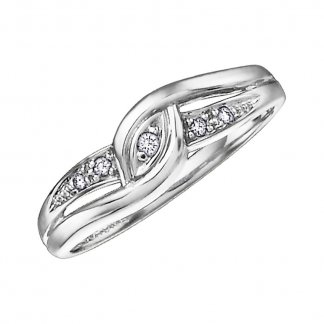 9ct White Gold Fancy Diamond Twist Ring
