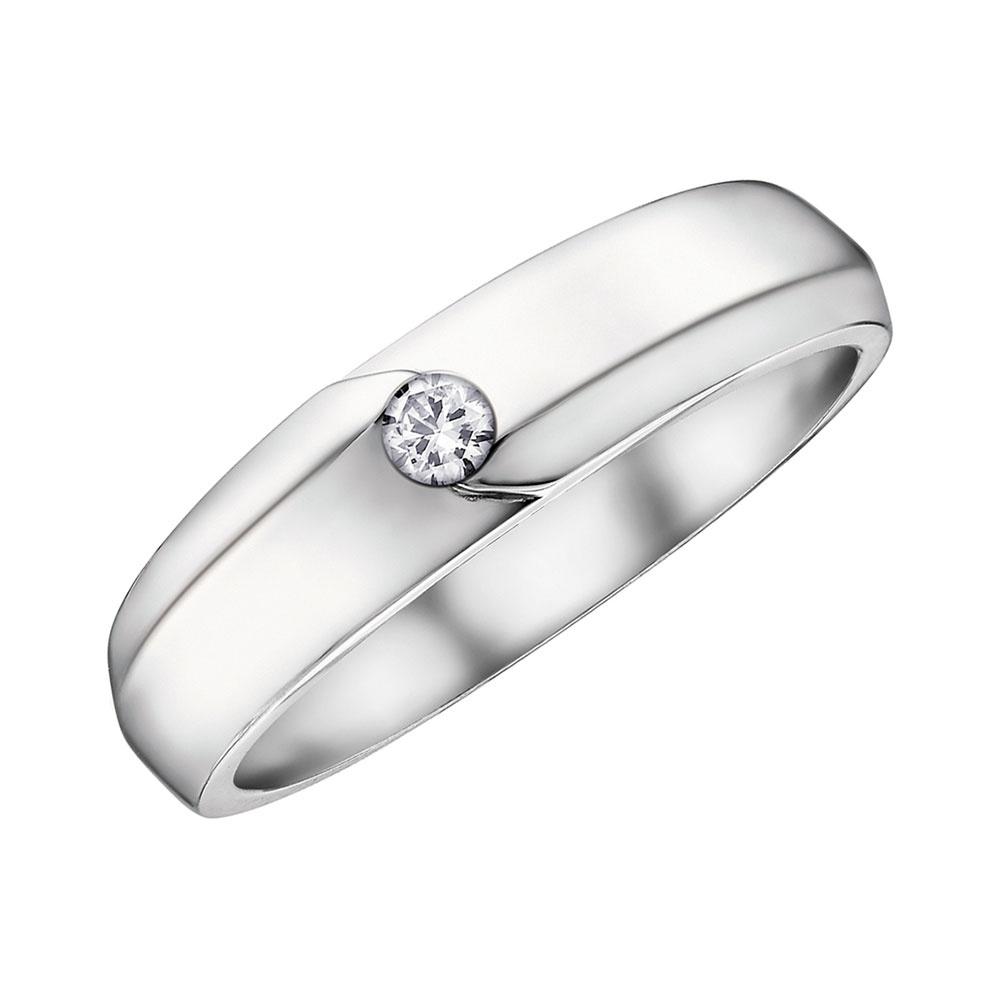 9ct White Gold Single Diamond Wedding Band