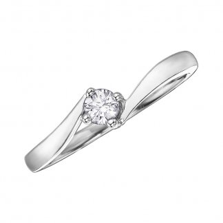 9ct White Gold Twist 0.20ct Diamond Solitaire Ring