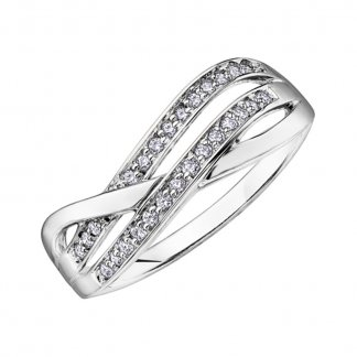9ct White Gold Wavy Diamond Eternity Ring 106054