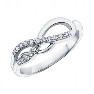 Wavy 9ct White Gold Diamond Eternity Style Ring 106056
