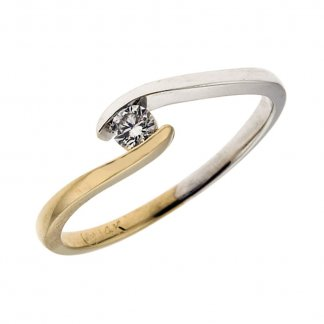 9ct White & Yellow Gold 0.15ct Diamond Twist Ring 101111