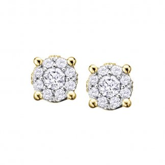 9ct Yellow Gold 0.18ct Diamond Cluster Studs
