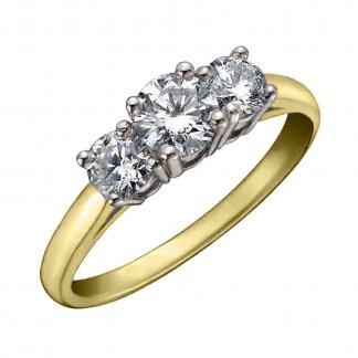 9ct Yellow Gold 0.25ct Triple Diamond Solitaire Ring