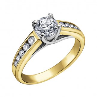 9ct Yellow Gold 0.50ct Solitaire Ring with Diamond Set Shoulders