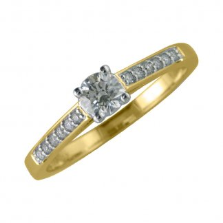 9ct Yellow Gold 4 Claw Solitaire 0.25ct Diamond Ring