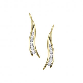 9ct Yellow Gold Diamond Leaf Earrings