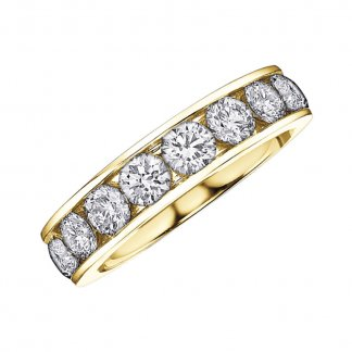 9ct Yellow Gold Half Eternity 0.10ct Diamond Ring 107049