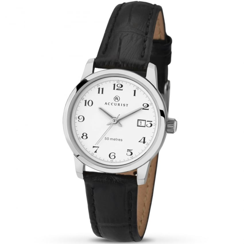 Accurist Black Leather Classic Ladies Watch 8092