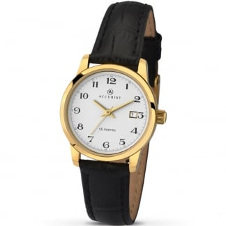 Black Leather Gold Plated Ladies Watch 8093