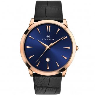 Gent's Rose Plated Blue Dial Strap Watch