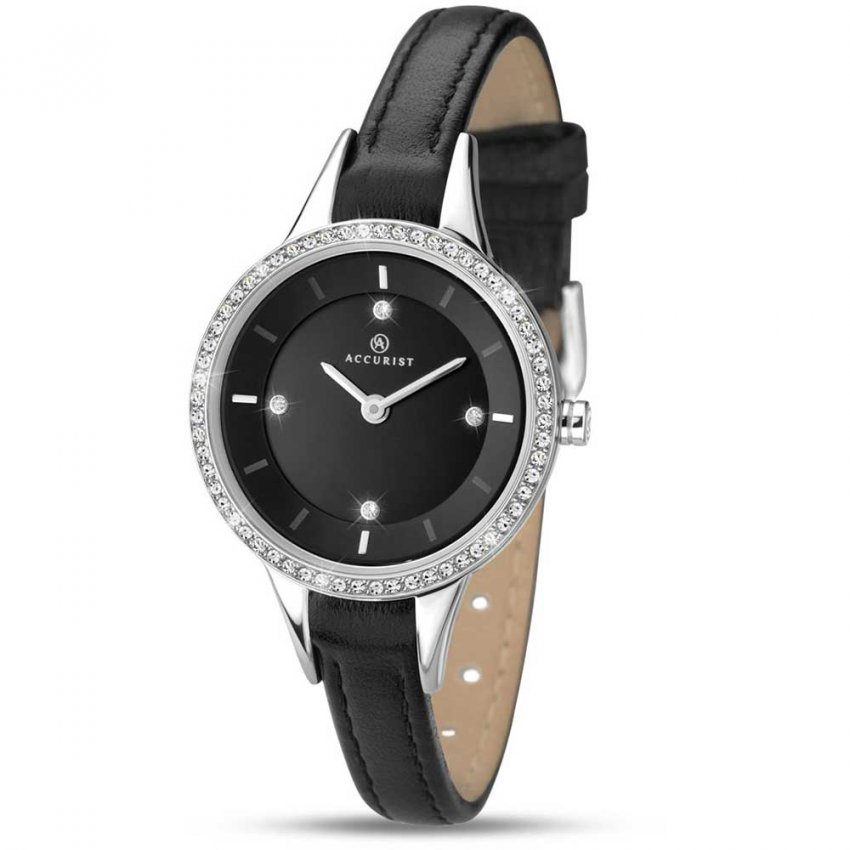 Accurist Ladies Quartz Slim Black Leather Dress Watch 8041