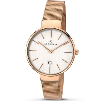 Ladies Contemporary Rose Gold Mesh Watch 8079