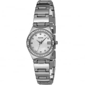 Ladies Crystal Set Mother Of Peal Dial Watch